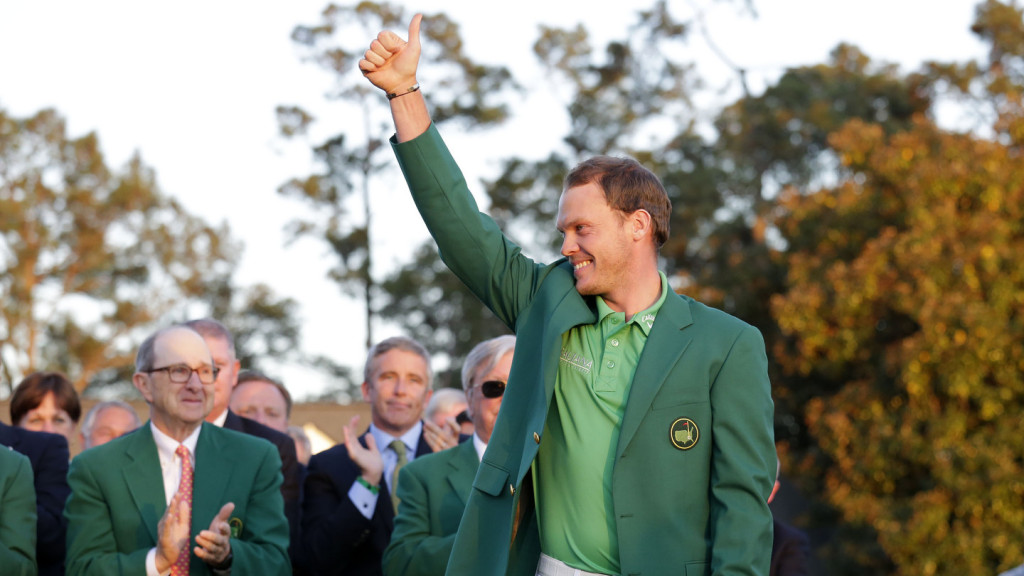 Master Champion Danny Willett of England and Masters champion Jordan Spieth during the Green Jacket Presentation in Butler Cabin at Augusta National Golf Club on Sunday April 10, 2016.