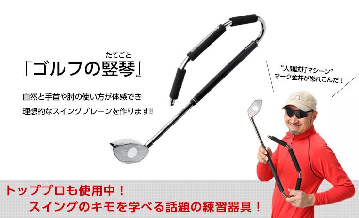 人間試打マシーンマーク金井が惚れ込んだスイングのキモを学べる話題の練習器具「ゴルフの竪琴」